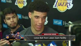 Lonzo Ball draws media horde to Lakers workout